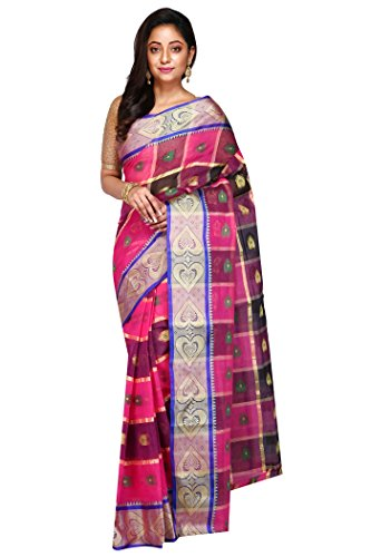 Madhushree Multicolour Handloom Cotton Tant Saree, Traditional Bengali Wear