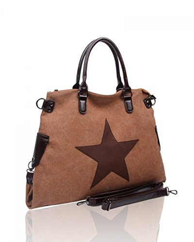 LeahWard® Groß Schule Taschen Damen Segeltuch Schultertasche Handtasche A4 160163 160164 FLAX Schultertasche