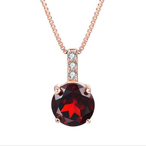 ORKST 925 Sterling Silber Halskette, Natürliche Runde Granat Anhänger Frauen Rose Gold Halskette, Kettenlänge 45Cm