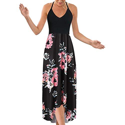 Weiß Geschirrwagen (Jorich Ärmellose Sommerkleid Damen Blumendruck Freizeitkleid Sexy V-Ausschnitt Spaghetti Bohemian Kleider Sexy Rückenfrei Badebekleidung Vertuschen Cocktailparty (Pink, XL/EU:40))