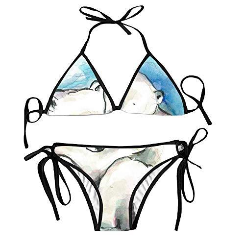 Polar Bear Kostüm - Women's Bathing Swimsuits Adjustable Strap Polar Bear Cubs Bikini Set Two Pieces Swimwear