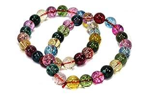 (1*) 8mm/19cm Bracelet, cristal de roche Multicolore gefärbt + stabilisier (Pierre Précieuse–Bracelets)