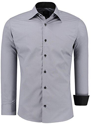 Jeel uomo camicia casual maniche lunghe contrasto slim fit tg s m l xl xxl, grigio xl