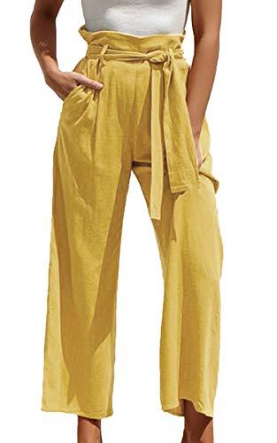 ECOWISH Damen Hosen Lang Weites Bein Sommerhose Gummibund Freizeithose mit Taschen und Gürtel Gelb XL