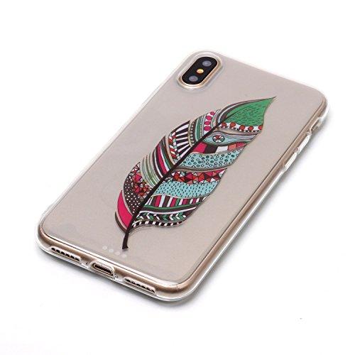 iPhone X Hülle, Voguecase Silikon Schutzhülle / Case / Cover / Hülle / TPU Gel Skin für Apple iPhone X(Lace Teppich 10) + Gratis Universal Eingabestift Bunte Feder 15