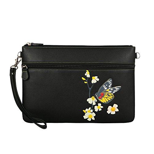 Menkai borsa della donna tracolla disegno Royal Blue farfalla 651D1 Black