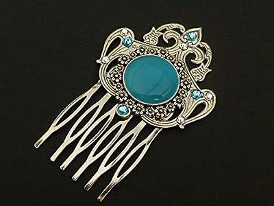 Peigne à cheveux avec cabochon en argent turquoise