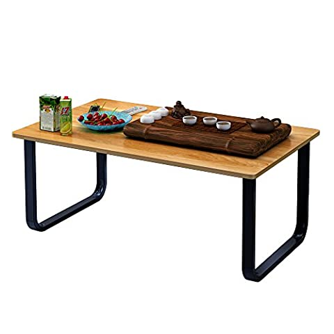 Soges Coffee Table 100x60cm Rectangular Coffee Table with Shelf Storage Modern Style Living Room Table Wooden End Table, Teak