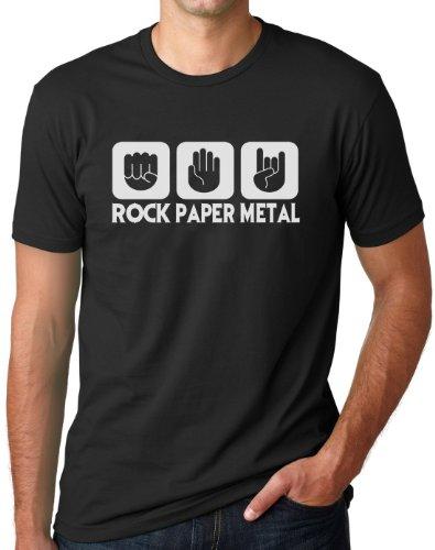 OM3 - ROCK PAPER METAL BLACK - T-Shirt STEIN PAPIER SCHERE HARDROCK HEAVY, S - 5XL, Schwarz Schwarz