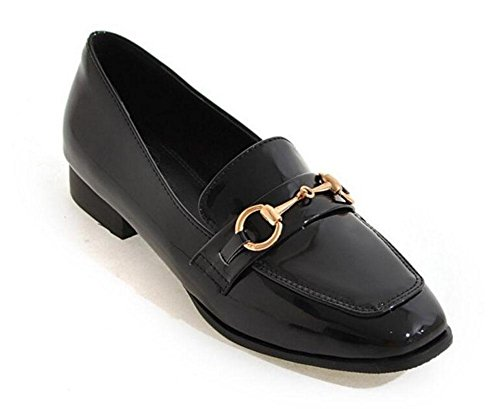 SHIXR Frauen-Geschlossen-Zehen-Pumpen-Pferden-Wölbung Einzelne Schuhe flache Schuhe Gericht Schuhe Boot Schuhe Sandalen Black