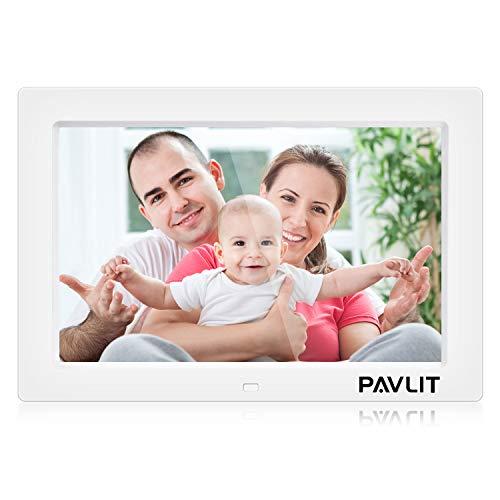 PAVLIT Cadre Photo numérique 8 Pouces IPS 1024 * 768 Cadre électronique avec Horloge et Calendrier Soutien MP3 MP4 USB SD/MMC,avec Télécommand