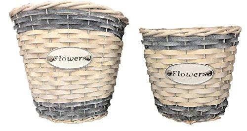 Lot de 2 paniers en osier Blanc et Gris Chic Fleur paniers Pots de fleurs