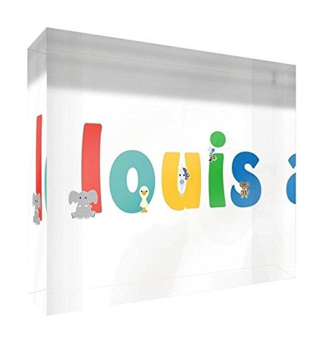 Little Helper Souvenir Décoratif en Acrylique Transparent Poli comme Diamant Style Illustratif Coloré avec le Nom de Jeune Garçon Louis 15 x 21 x 2 cm Grand