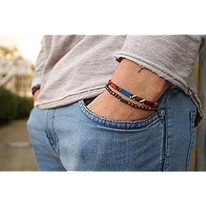 Surfer Armband Set Männer - Herren Armband Boho - Made by Nami Handmade Surfer Schmuck - Ethno Strand Style (Ethno, Perlen braun)