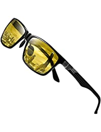 DUCO Classic Carbon Fiber Temples Rectangular Polarized Night-vision Anti-glare Driving Eyewear Glasses 8206