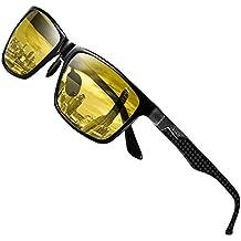 Duco Gafas de conducción nocturna para hombres y mujeres con marco de fibra de carbono Visión