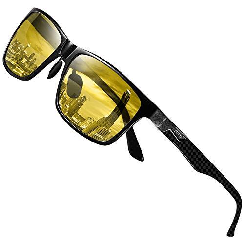 DUCO Herren und Damen Nachtfahrbrille mit Kohlefaser Rahmen Nachtsichtbrille Autofahren Anti Glanz Polarisiert KontrastBrille 8206 (Kohlefaser-Rahmen)