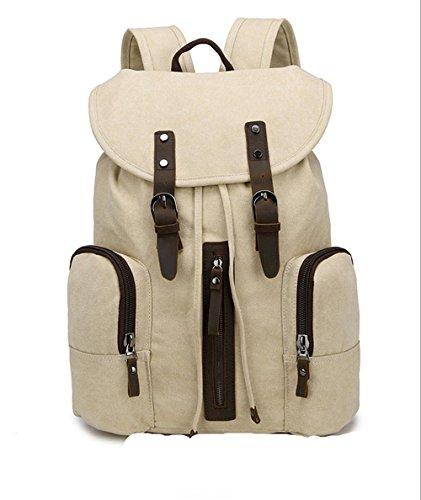 Xiuxiandianju 20L - 35L Canvas Rucksack neue Männer und Frauen Tasche koreanischen Handtasche Rucksack Student Reisetaschen meters white
