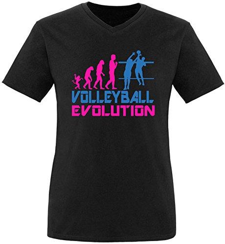 EZYshirt® Volleyball Evolution Herren V-Neck T-Shirt Schwarz/Pink/Blau