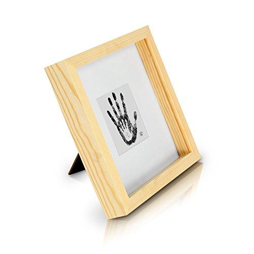 Classic by Casa Chic Tiefer quadratischer Box-Bilderrahmen aus Echtholz - Pinie Natur - 23x23 cm und...