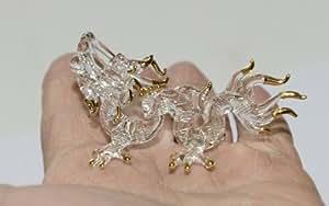 Thai DRAGON Figurine en verre soufflé à la main Art Miniature–Collection animaux mythiques (Design Charmant comme en cristal transparent en verre avec bordure or 18K)