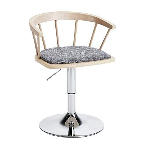 Bar hocker,Vintage-Design-Stil Stuhl Büro Lounge Esszimmer Küche,Massivholz Rückenlehne Baumwolle Leinen Kissen Stahl Stuhlgestell drehbar Stuhl kann in der Höhe verstellt werden,Protokollfarbe -