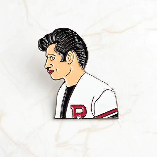 JTXZD Brosche Film-bezogene Pin Grease Sandy und Danny Hard Emaille Broschen Abzeichen Anstecknadel Set Männer Frauen - Danny Und Sandy Grease Kostüm