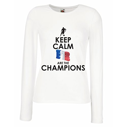 Weibliche Langen Ärmeln T-Shirt Franzosen sind die Meister - Russlandmeisterschaft 2018, Weltcup-Fußballmannschaft, Frankreich-Fanhemd (Medium Weiß Mehrfarben)