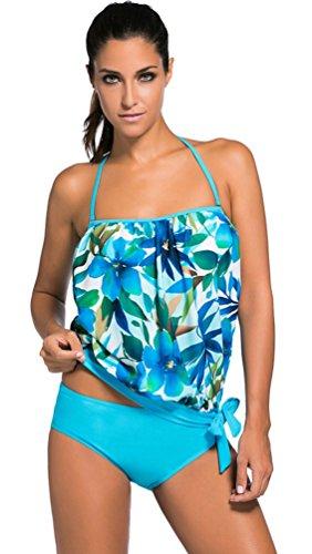 Nicetage Women's Two Piece Floral Luau Beach Love Bandeau Halterneck Swimsuit Tankini Top