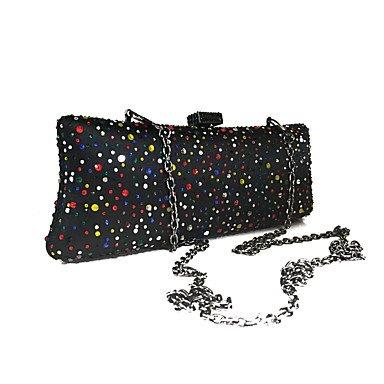 Frauen Crystal Beads Event/Party/Hochzeit Abend Tasche Schwarz/Gold Black