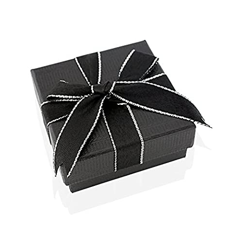 Luxury jewellery box, Black gift box with beautiful bowed ribbon and silver lining