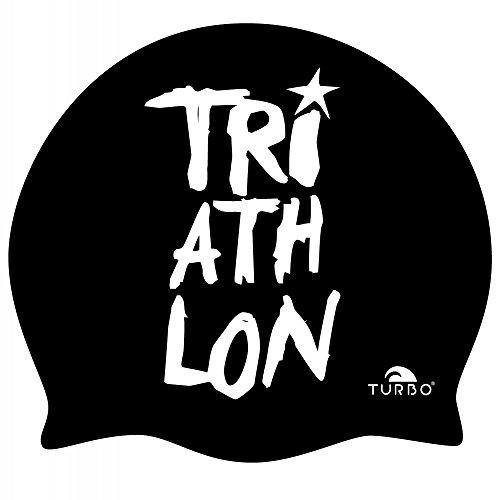 TURBO Badekappe TRIATHLON schwarz /weiß aus Silikon