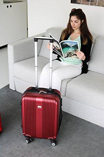 PURE Koffer SENSATION / Reisekoffer / Hartschale / Trolley / robustes PET / 4 Rollen / TSA Zahlenschloss (rot, S) - 4
