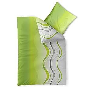 2-teilige Sommer-Bettwäsche | 4 Jahreszeiten 155 x 220 cm | Mikrofaser 2 tlg. | CelinaTex Harmony 0002522 | Leandra grün weiß