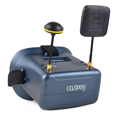 HankerMall Gafas FPV Gafas VR008 Pro 2 FPV con DVR 4.3 Pulgadas 5.8G 40CH Diversidad Batería Antena Doble Recepción y Estuche para RC Quadcopter
