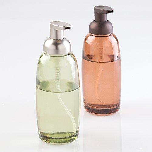 mDesign distributeur savon mousse (lot de 2) – distributeur de savon rechargeable en verre – distributeur de savon liquide pour la cuisine et la salle de bains – vert / argenté / marron clair / bronze