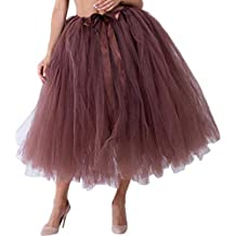 8ce2189058 Amazon.es  falda de tul larga - Marrón