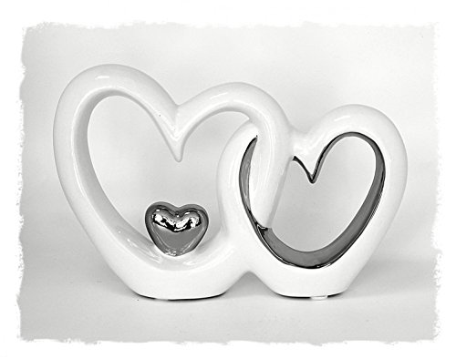 Deko Figur Doppeltes Herz Herzen Paar, 13 x 19 cm, Keramik Lackiert Weiß Silber Chrom, Herzchen Herzfigur Herzaufsteller Dekoherz Modern (Figuren Weiße)