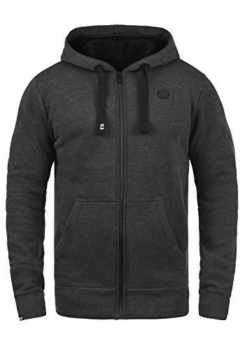 !Solid Bene Zip Hood Pile Herren Winter Sweatjacke Kapuzen-Jacke Zip-Hoodie Pullover mit Kapuze und Teddy-Futter, Größe:L, Farbe:D Gre Pil (P8288) - Zip-n-griff