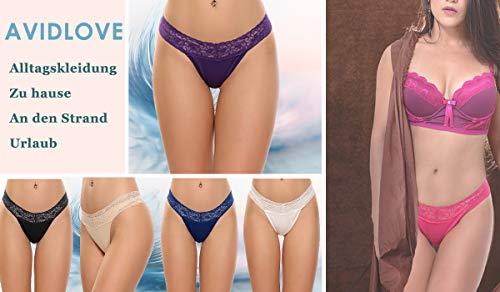 Avidlove 6er Tanga Damen Strings Set Sexy Slip Unterwäsche Dessous Thong Tangaslip Panty aus Baumwolle mit Spitze für Frauen - 2