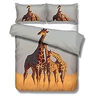 EU-VV Bedding Set with Duvet Cover Brushed Microfiber 3D Giraffe Park Kids Young Boy and Girl 1 Duvet Cover + 2 Pillowcases 50x75cm (Single(135x200cm),Giraffe 02)