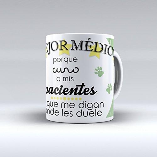 Taza cerámica desayuno regalo original profesión veterinario 'Mejor médico porque curo a mis pacientes sin que me digan donde les duele'