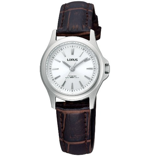 Lorus Courant Titanium Silver Dial Brown Leather Strap Ladies Watch RRS55TX9