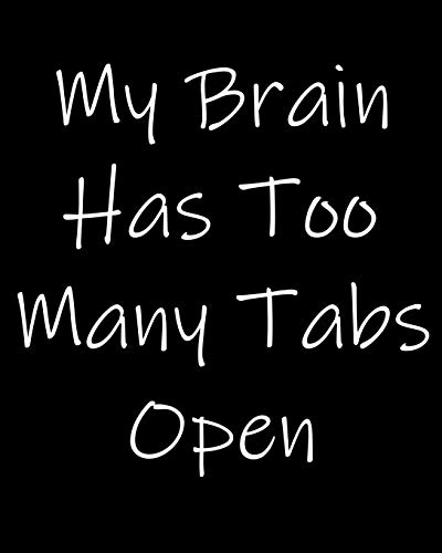 My Brain Has Too Many Tabs Open: 108 Page College Ruled Notebook 8x10 : Satin Matte Black Cover - Satin-tab