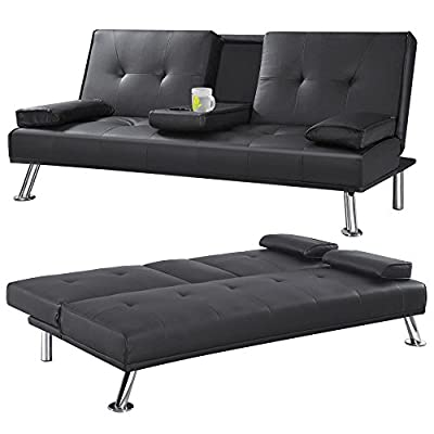 CINEMO 3 SEATER SOFA BED FAUX LEATHER w FOLD DOWN TABLE CHROME LEGS FUTON - inexpensive UK light store.