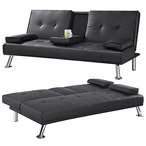 Cinema Style Futon Sofabed With Drinks Table (Black)