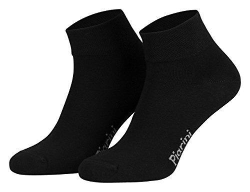 Piarini 8 Paar kurze Socken Kurzsocken Quarter Socken für Damen Herren Kinder | dünn, ohne Gummibund | schwarz 43-46
