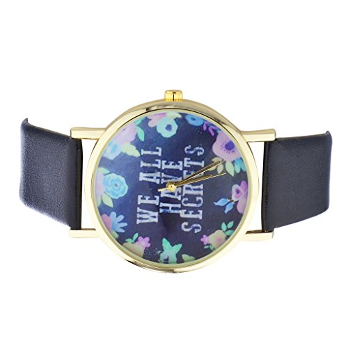 LUX Zubehör Gold Ton Marineblau und Blumenmuster Wir Alle haben Secrets Watch Face Watch -