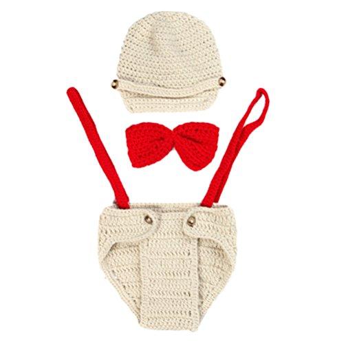 Zhhlinyuan Mode Newborn Handmade Crochet Knitted Cap&Shorts Set Photography Prop With Bow tie 2167 Handmade Crochet Mode