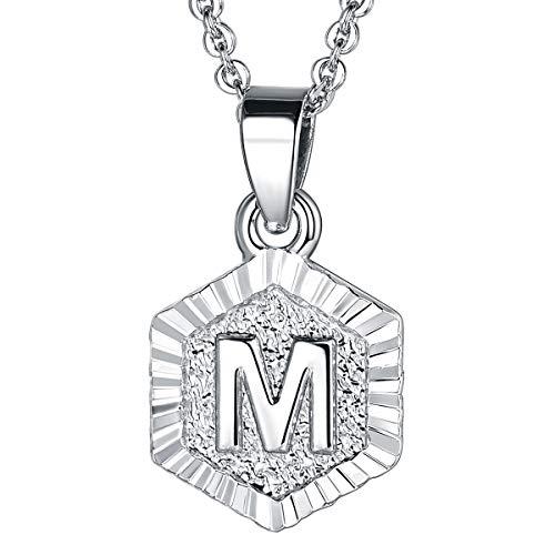 FOCALOOK Damen Collier Buchstabe M trendig Schmuck platiniert Hexagon Tag Anhänger mit 50+5cm Rolokette Silber Anfangsbuchstabe Halskette für Frauen Mädchen